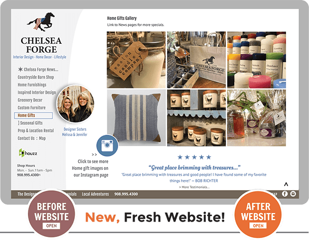 Before and After comparison of custom website design for Chelsea Forge Antiques and Design